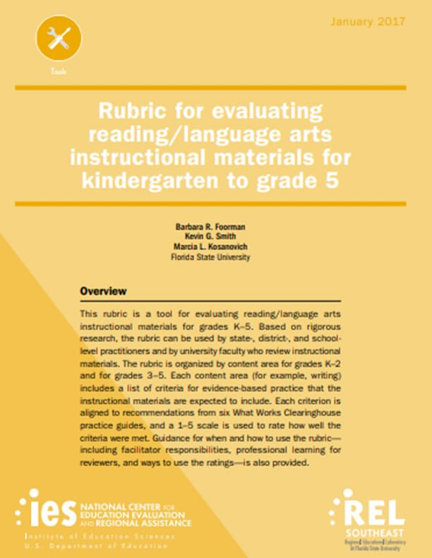 Rubric for Evaluating Reading/Language Arts Instructional Materials for Kindergarten to Grade 5