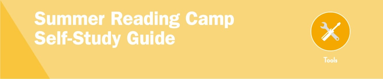 "Toolkit sticker that reads, ""Summer reading camp self-study guide."""