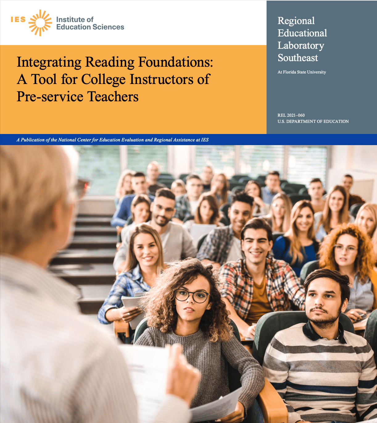 Cover of toolkit shows college students in lecture hall.