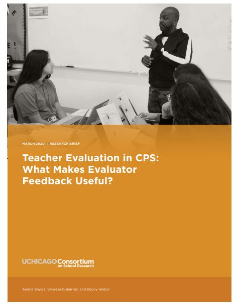 Teacher evaluation in CPS. Three students listening to the teacher.