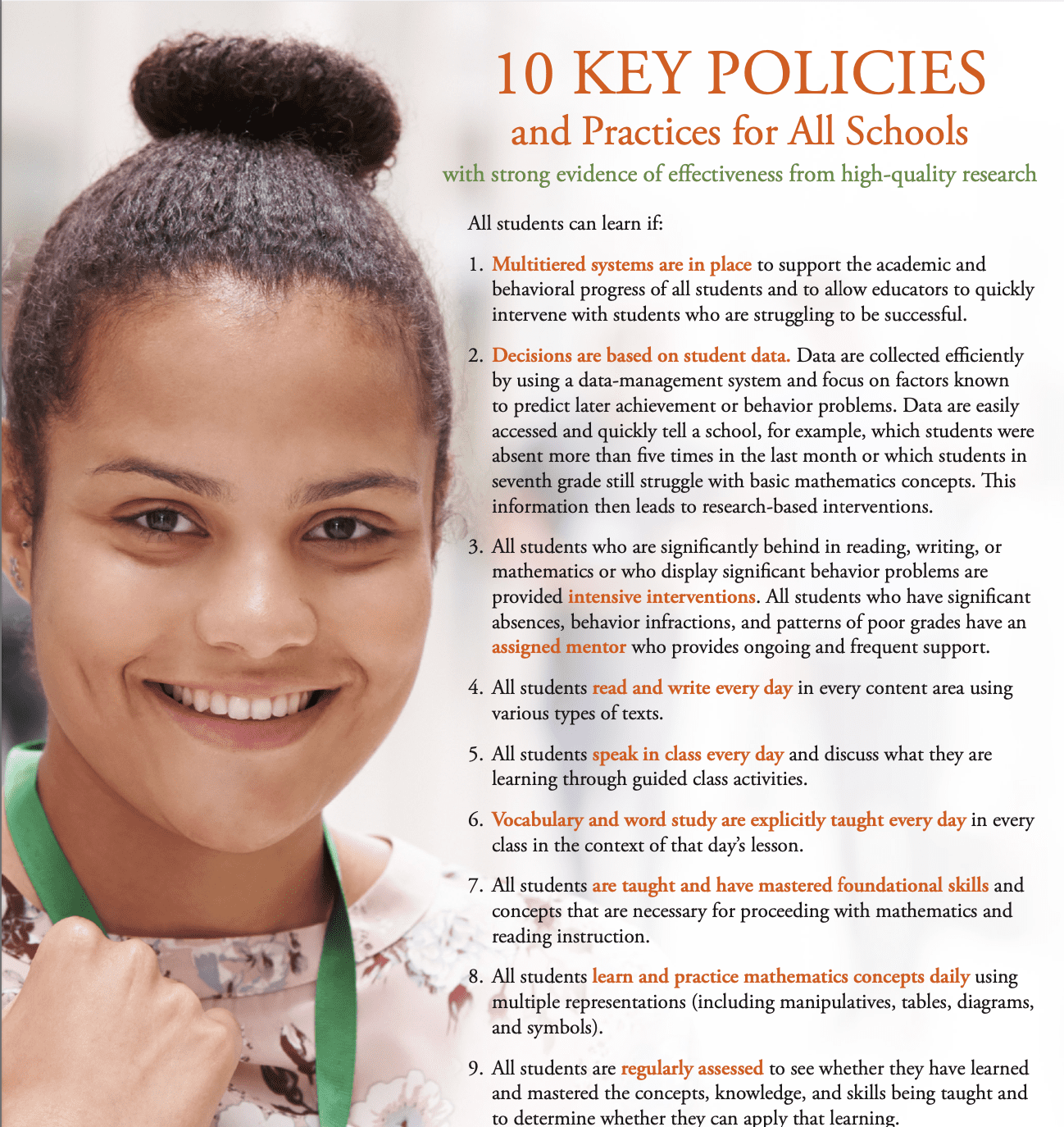 Cover of resource with key policies and photo of young Black girl