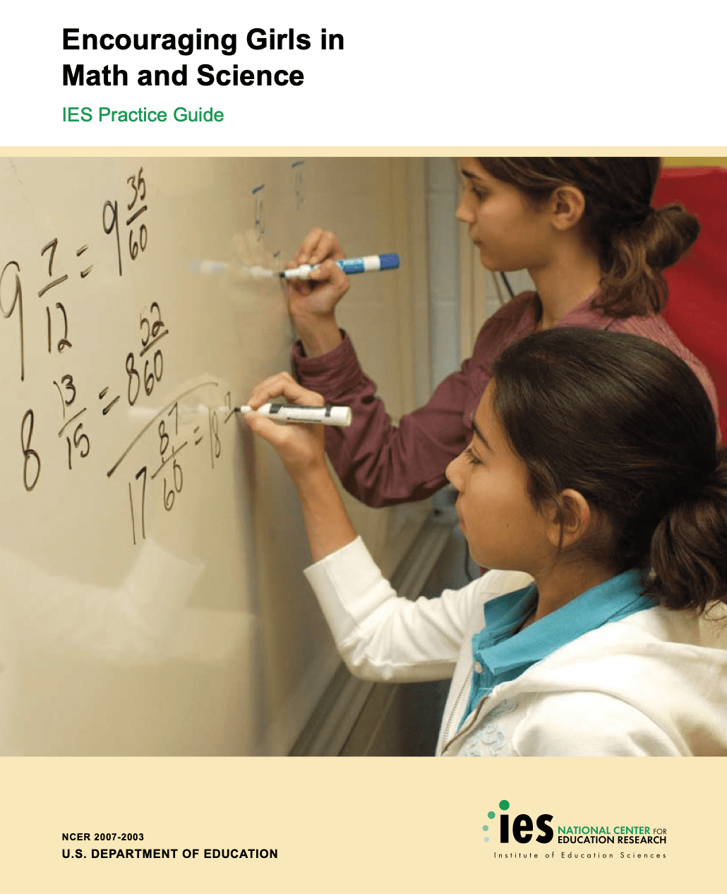 Cover of resource with photo of two girls solving math problems on a whiteboard