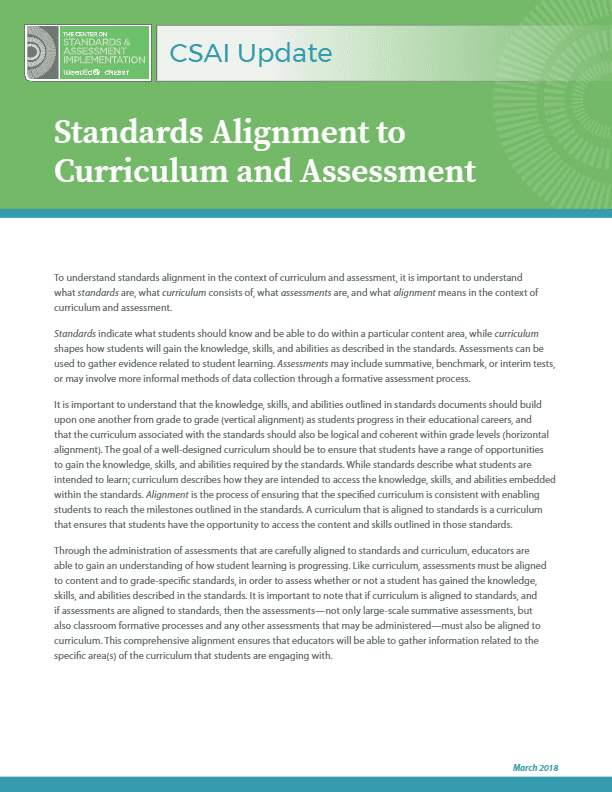 CSAI Update: Standards Alignment to Curriculum and Assessment