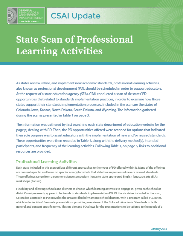 CSAI Update: State Scan of Professional Learning Activities