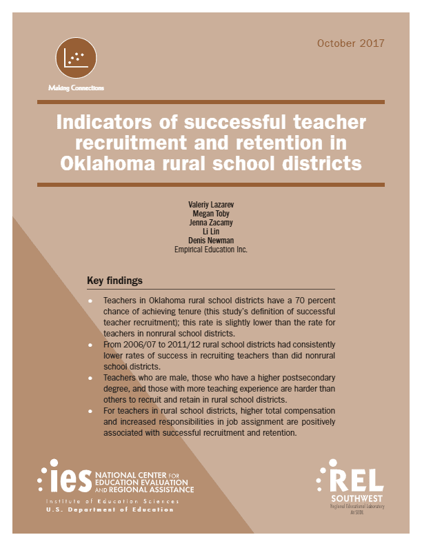 Indicators of Successful Teacher Recruitment and Retention in Oklahoma Rural Schools